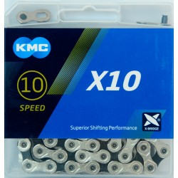 IKMC-X10-SD114 - Łańcuch KMC X10 114og. srebrny/czarny BOX
