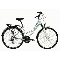 """Rower 28 VOYAGER 1.2 damski,srebrnt/zielony mat 16,5""""(42cm) - VOY17 1.2-16,5"""