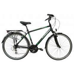 """BAS17 0.1-19 - Rower 28 BASIC 0.1 męski,czarny/zielony mat 19""""(48cm)"""
